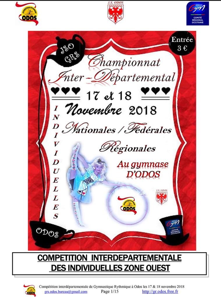 Championnat GR Inter Départemental Ouest 17 et 18 Novembre 2018 ODOS