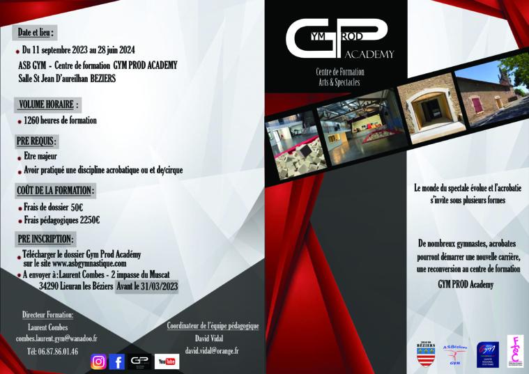 INSCRITPIONS 2021-2022- CENTRE DE FORMATION DES ARTS & SPECTACLES GYM PROD ACADEMY