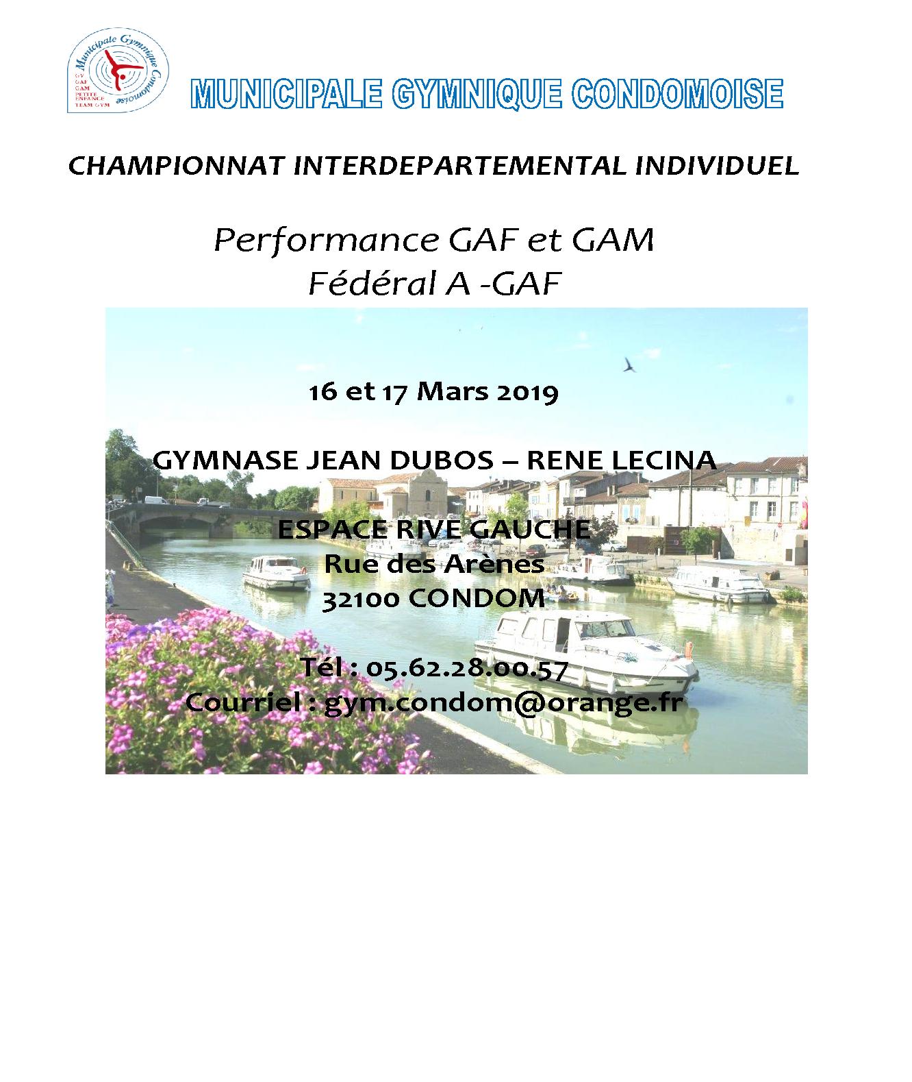 CHAMPIONNAT INTERDEPARTEMENTAL INDIVIDUEL  GAM Performance et Fédéral CONDOM