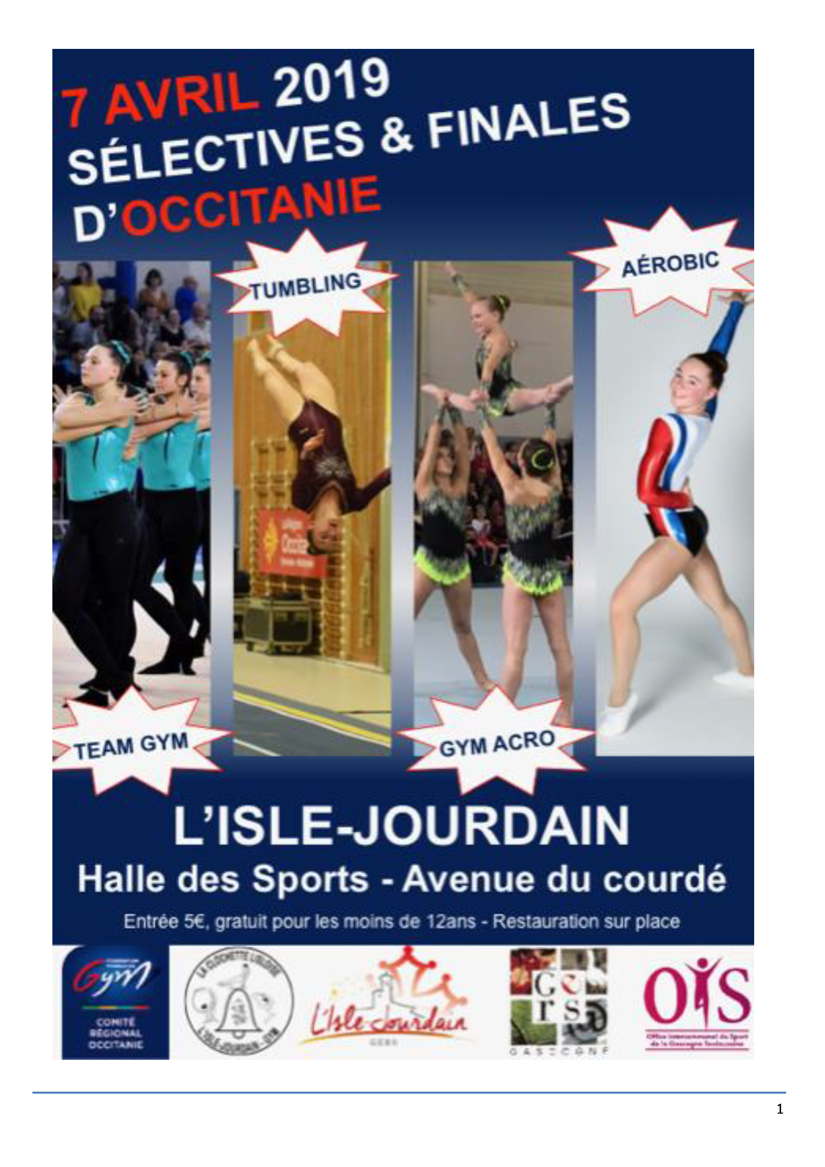 TUMBLING AVRIL 2019 L'ISLE JOURDAIN