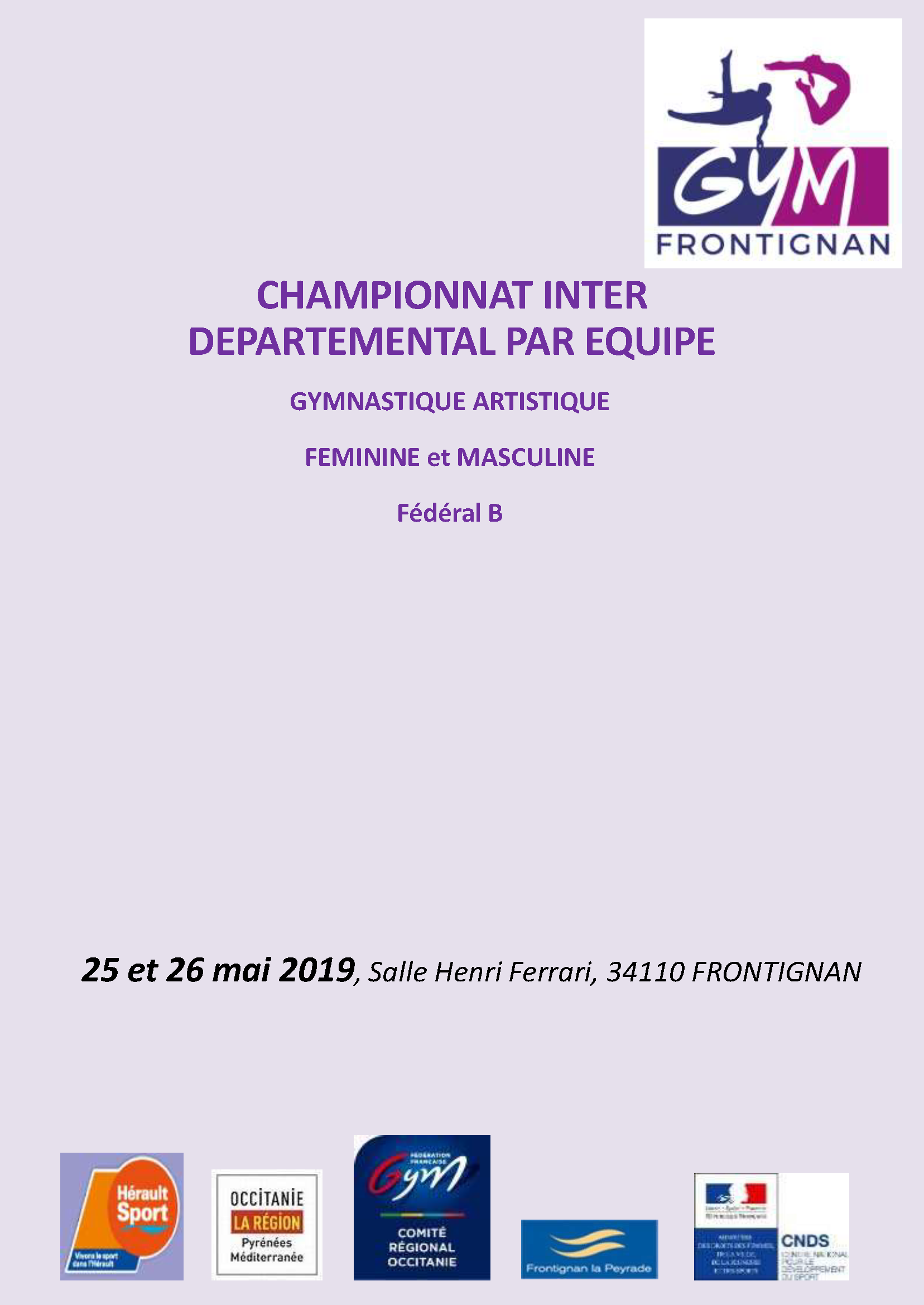 GAF - FINALE Inter-Départementale EST - Equipes FED B - 25 et 26 Mai 2019 à FRONTIGNAN