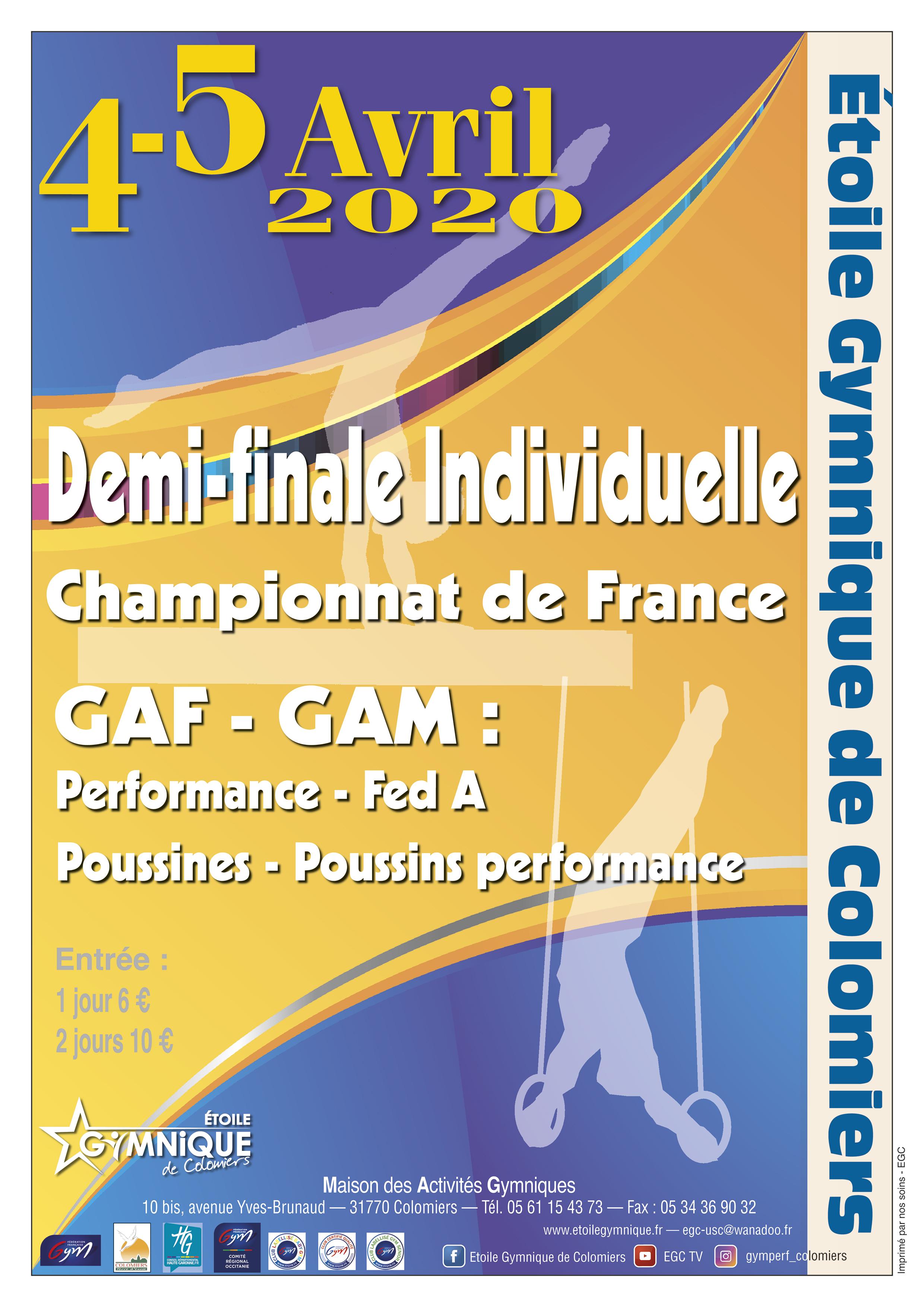 GAF - Région Individuelles Fed A  + Individuelles performance + Poussines Performance 4 et 5 Avril  2020 à Colomiers