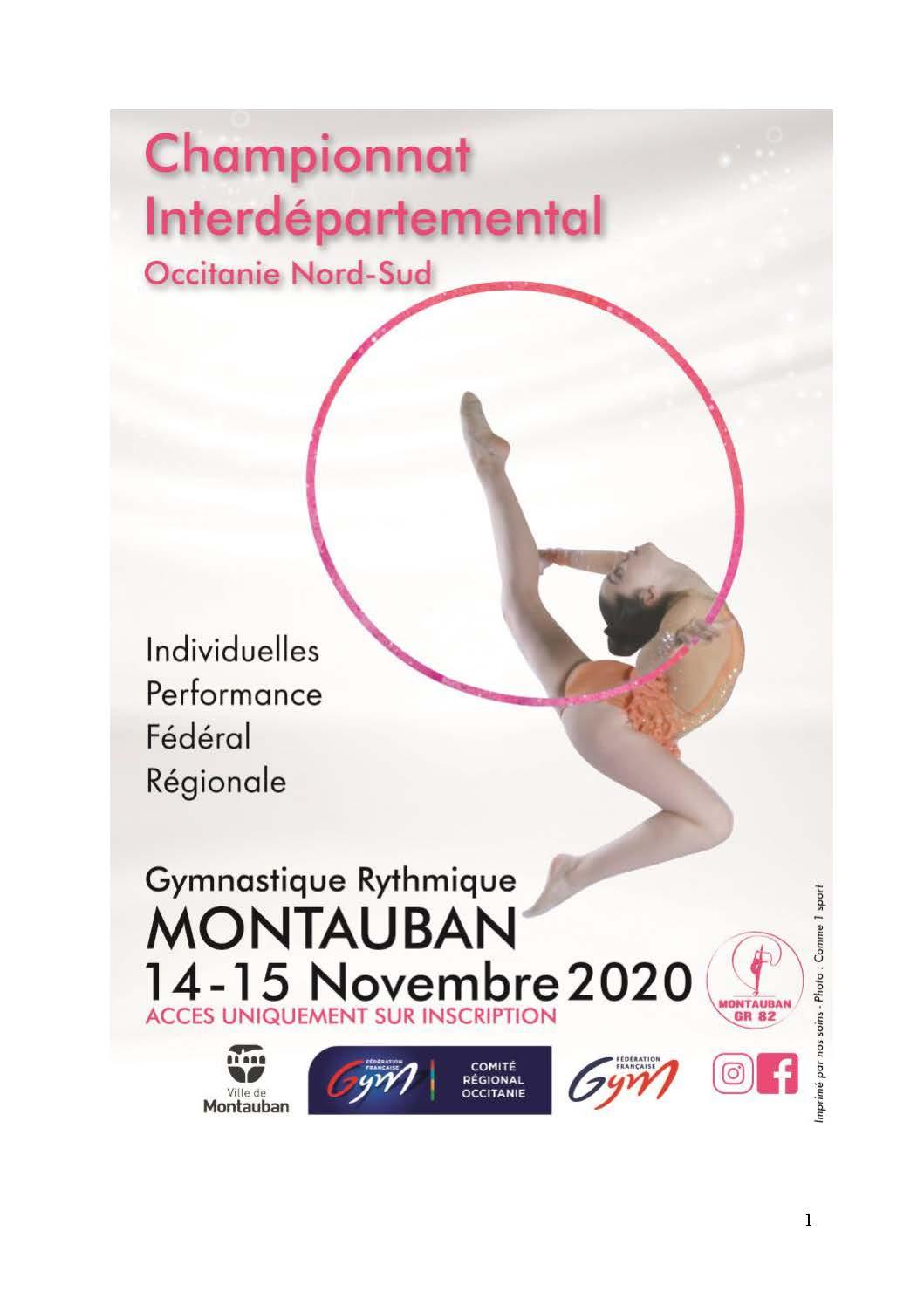 GR - Championnat Interdépartemental Nord/Sud DES INDIVIDUELLES Performance Fédérale et Régionale les 14 et 15 Novembre 2020 à Montauban