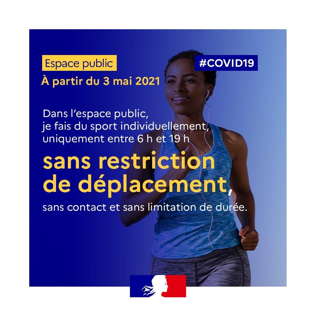 Covid - Mise à jour des mesures Sport à partir du 3 mai 2021